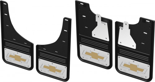Truck Hardware - GCR28K-BTG No Drill CHEVY BOWTIE Front and rear Mud Flaps